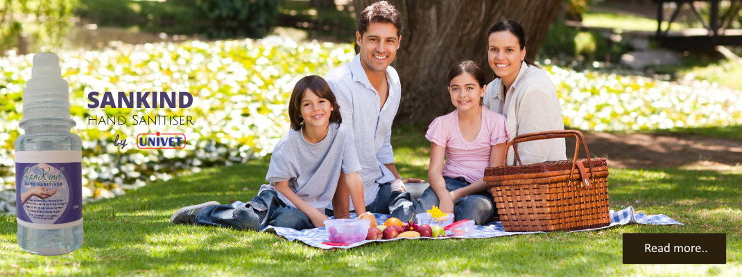 Family having a picnic with Hand Sanitiser on left of image